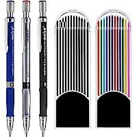3 Piezas 2.0 mm Lápiz Mecánico con 2 Cajas de Minas, Recambios de Color y Negros para Dibujo, Escritura, Manualidades…