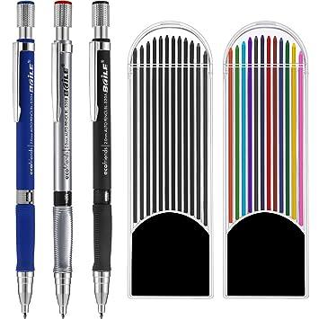 3 Piezas 2.0 mm Lápiz Mecánico con 2 Cajas de Minas, Recambios de Color y  Negros para Dibujo, Escritura, Manualidades, Bosquejo  Amazon.es  Oficina y  ... e1a523b9cd