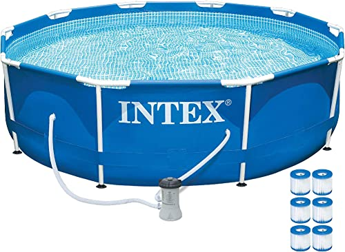 Intex 10ft x 30in Metal Frame Above Ground Pool Set w/ 330 GPH Pump Filter