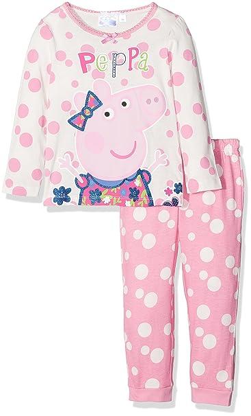Peppa Pig Girls Bows Multi Spot Premium Long Sleeve Pyjama Set Off White 7-8