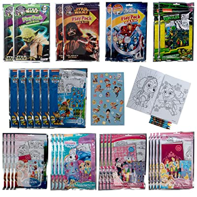Tri-Coastal (30 Pack) Grab & Go Play Packs Set Cartoon Stickers for Kids Coloring Books Crayons Party Favors Bulk for Boys Girls Avengers Star Wars Princess Paw Patrol: Toys & Games