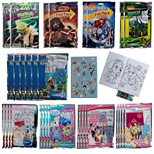 Tri-Coastal (30 Pack) Grab & Go Play Packs Set Cartoon Stickers for Kids Coloring Books Crayons Party Favors for Boys Girls Avengers Star Wars Princess Paw Patrol