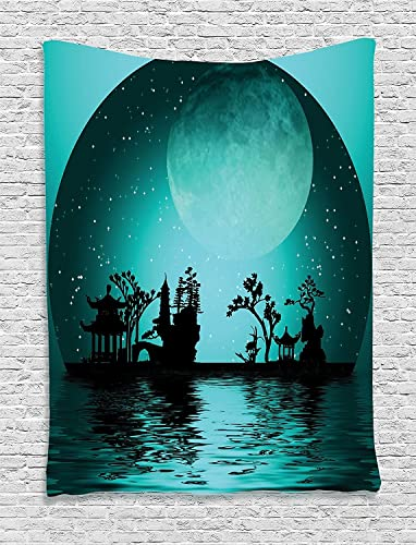 Ambesonne Asian Tapestry, Landscape with Moon and Stars in The Night Sky Holiday Print, Wall Hanging for Bedroom Living Room Dorm, 60 X 80 , Aqua Black