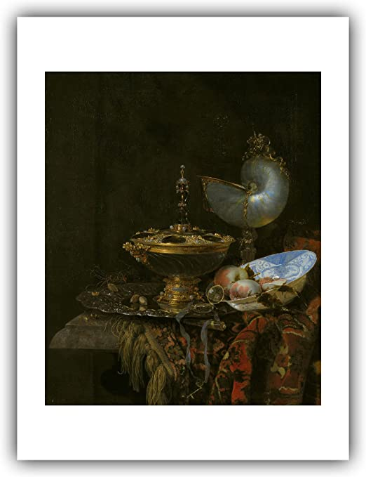 Amazon Com The Ibis Print Gallery Willem Kalf Pronk Still Life With Holbein Bowl Nautilus Cup Glass Goblet And Fruit Dish 1678 Giclee Fine Art Print Posters Prints