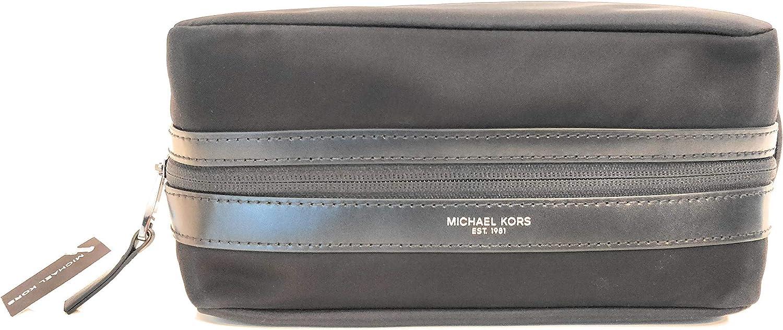 Michael Kors Kent neceser de hombre nylon negro 26x14x12cm nuevo