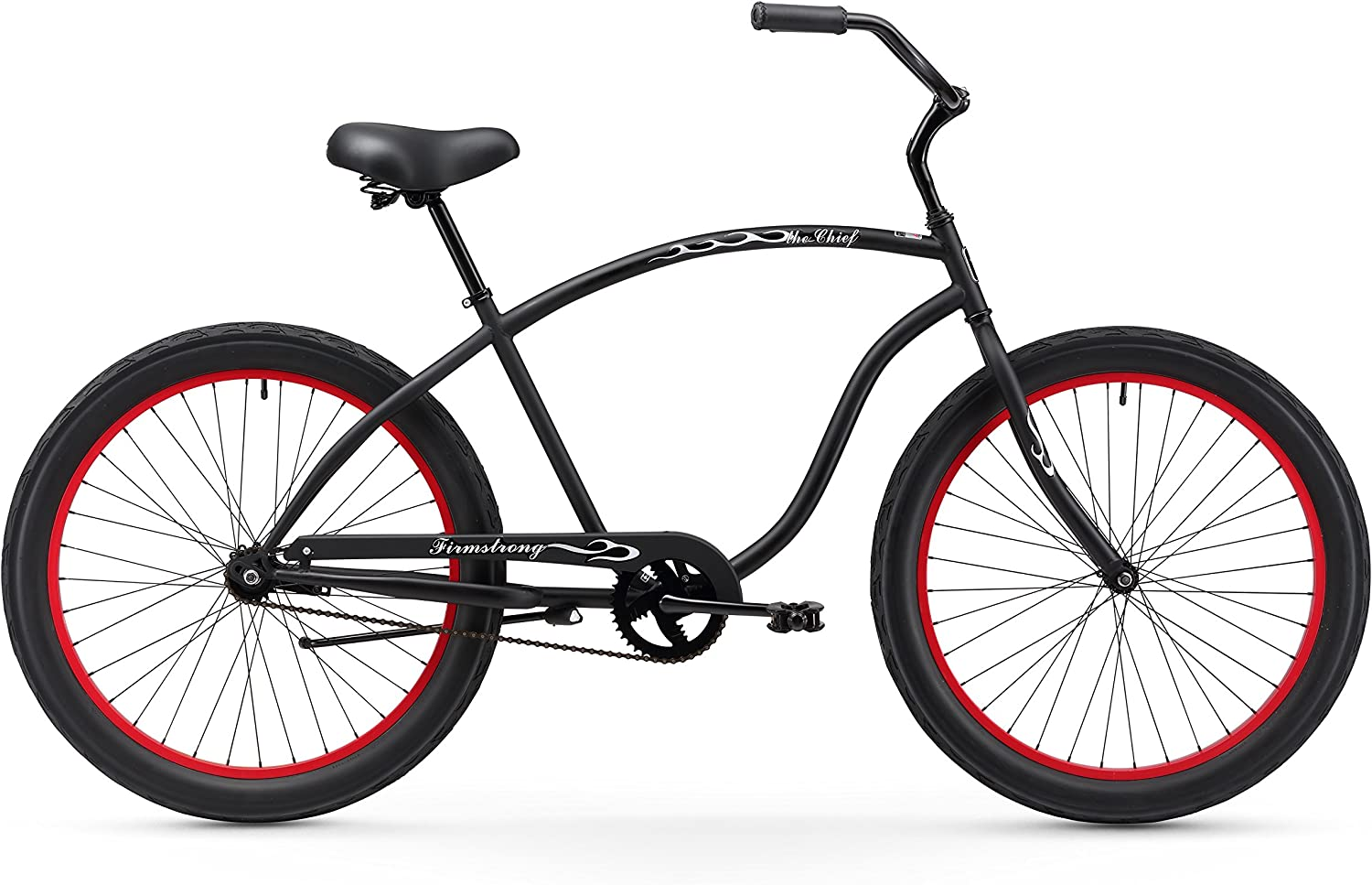 Firmstrong Chief 3.0 Man Single Speed Beach Cruiser Bicycle, 26-Inch XX-Large, Matte Black