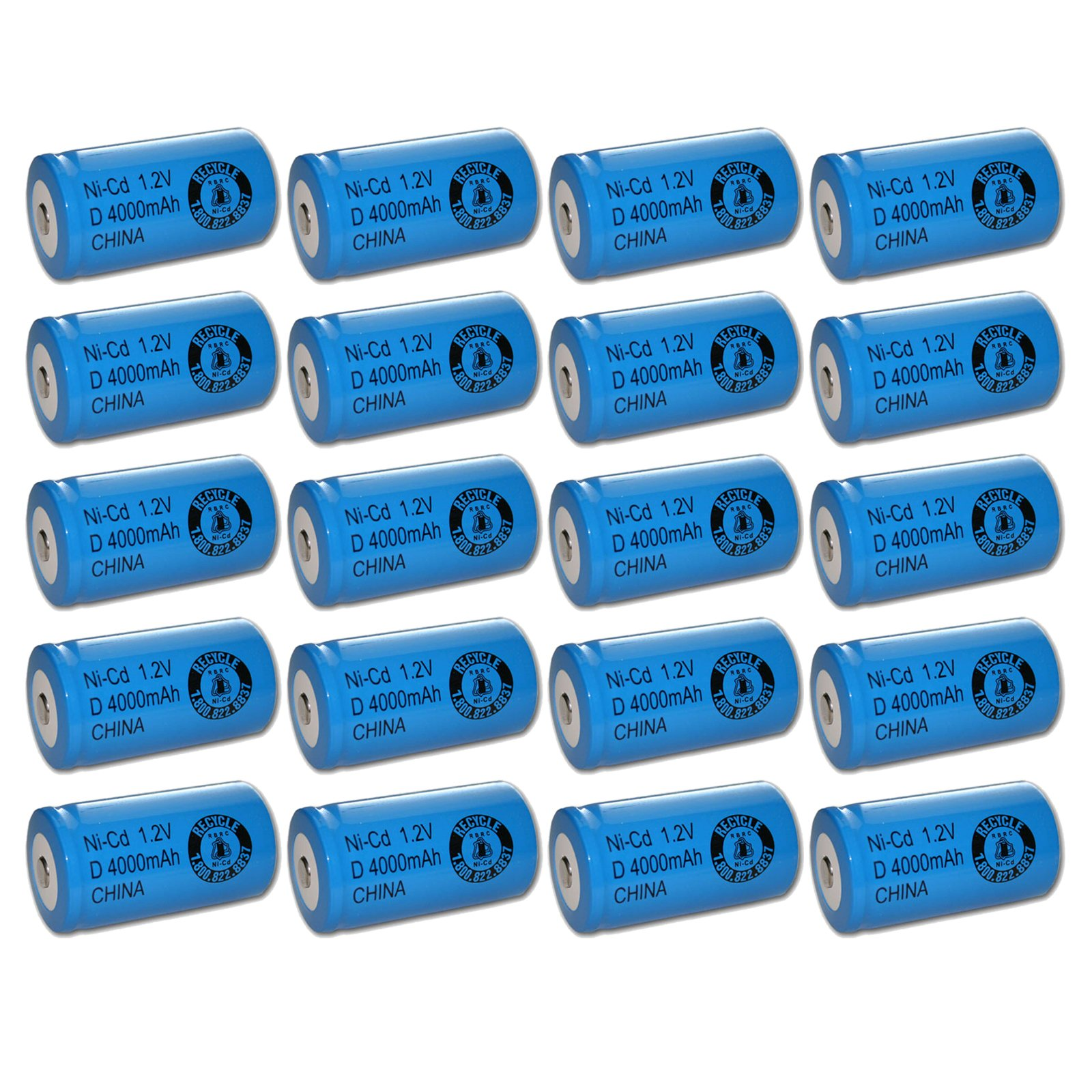 20x Exell 1.2V 4000mAh NiCD D Rechargeable Battery Button Top Cell FAST USA SHIP