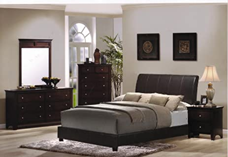 Roundhill Furniture Le Charmel 4 Piece Blended Leather Low Profile Bedroom  Set, Includes Queen