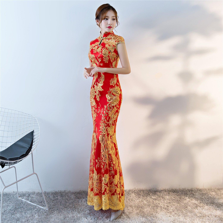 3cc1062d2558 Shanghai Story Keyhole Cheongsam Lace Mermaid Sequins Chinese Qipao Dress  QP  XS04649