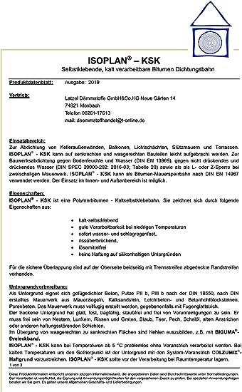 Bitumendichtbahn Abdichtbahn KSK-Dichtfolie-10x1m-Kaltschweissbahn Abdichtungvollflaechig-selbstklebend