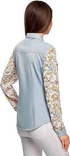 oodji Ultra Mujer Camisa Vaquera Combinada, Azul, ES 44 XL