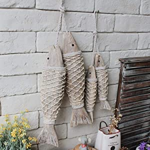 WEKIOOBON Wall Hanging Wooden Fish Decorated, Antique Style Home Decoration Fish Ornament Set of 2
