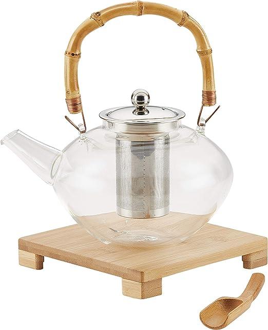 800/ml tetera de cristal o de bamb/ú con tapa de cristal bamboo lid