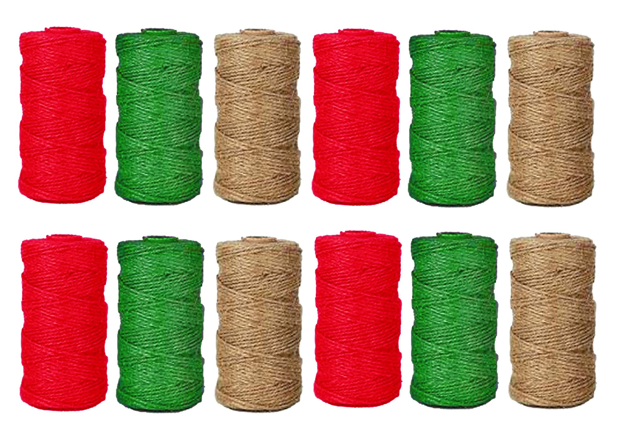Set of 12 Black Duck Brand Christmas Holiday Rope Jute Twine Rolls – 180 Ft Each – Red. Green, Natural (12)