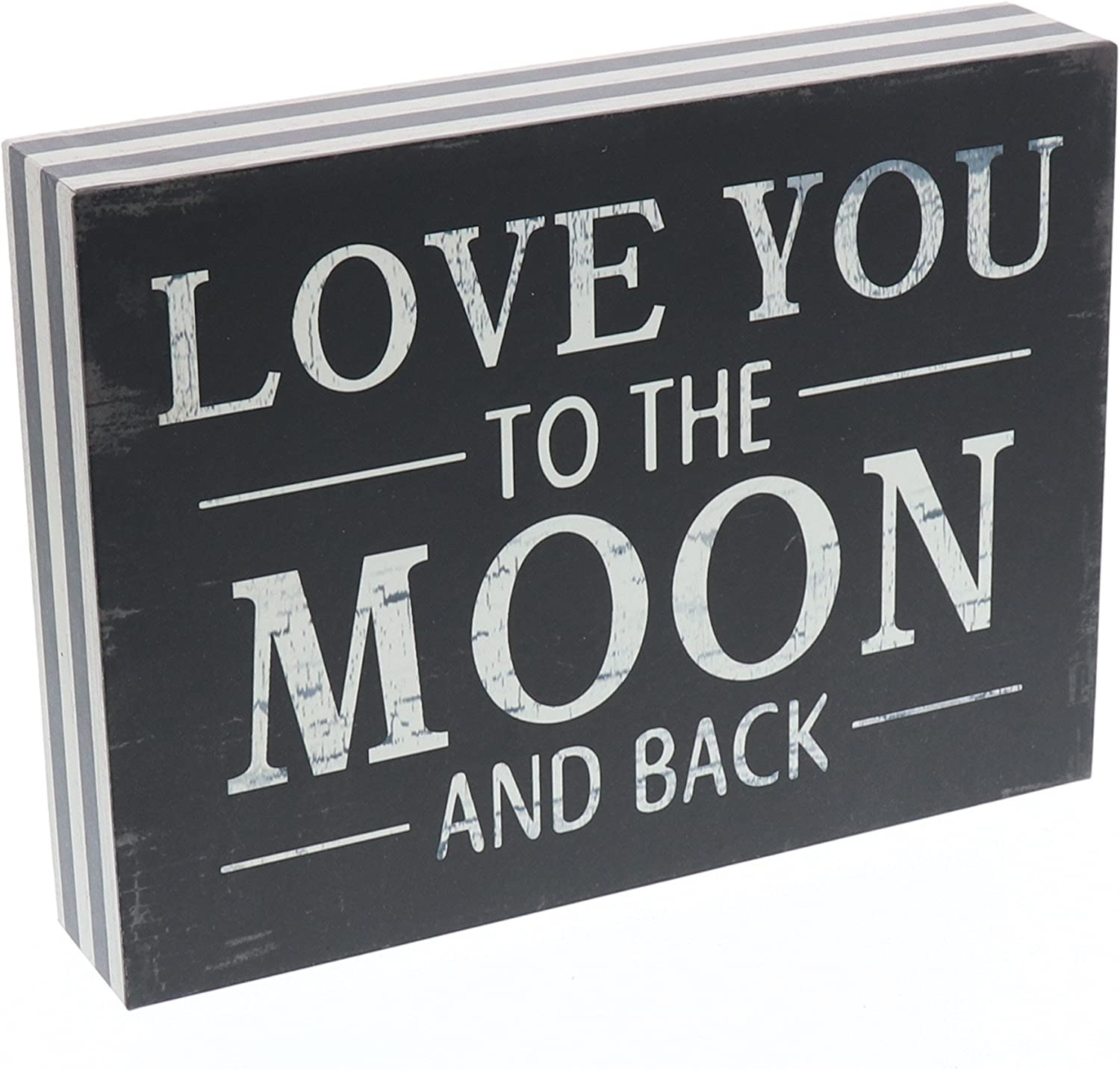 Barnyard Designs Love You to The Moon and Back Wooden Box Wall Art Sign, Primitive Country Farmhouse Home Decor Sign with Sayings 8 x 6