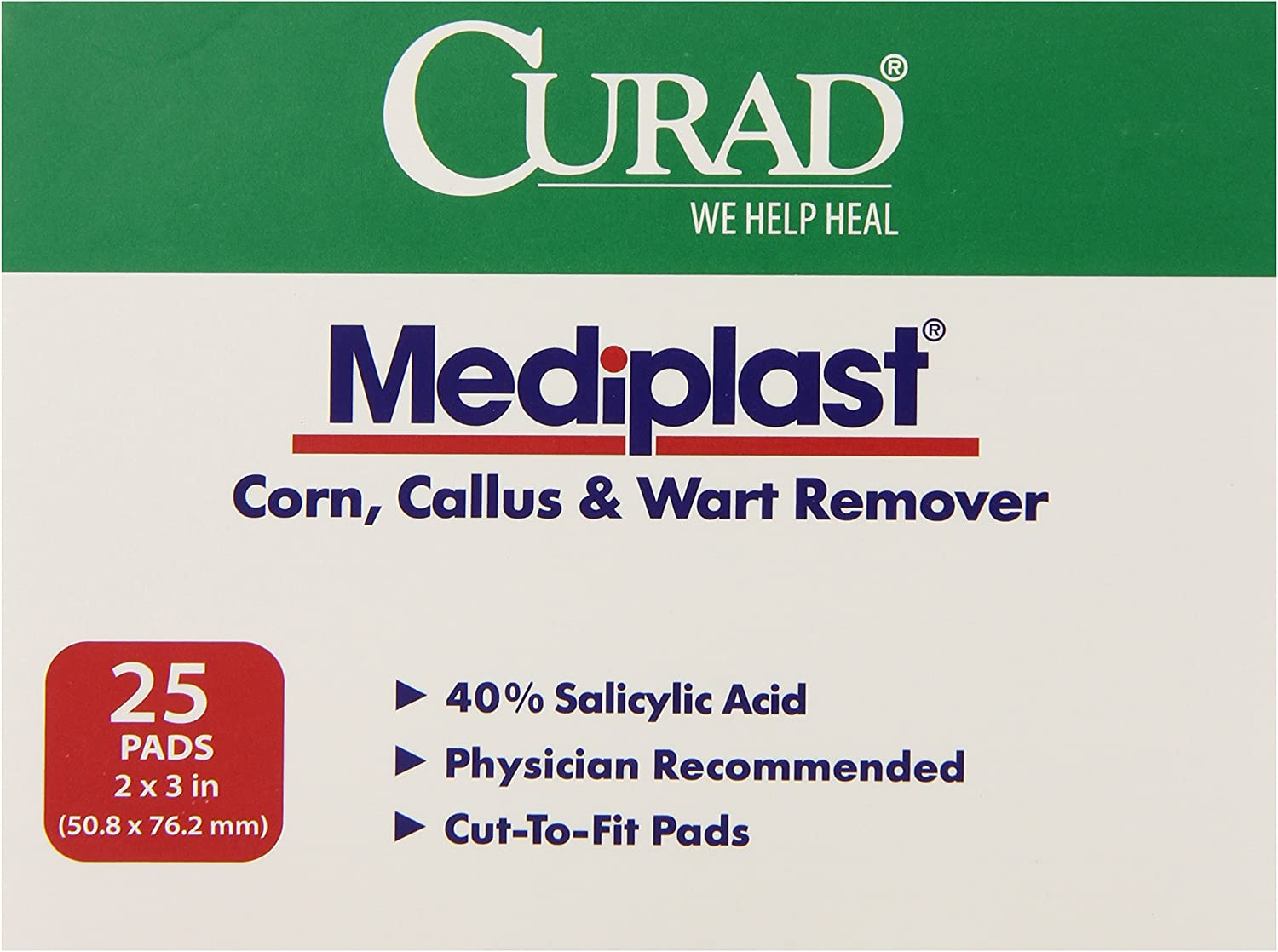 Medline Pad Mediplast Wart Curad 2 Inch x 3 Inch, 150 Count: Health & Personal Care