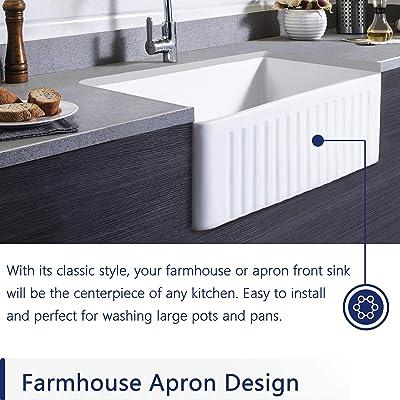 Buy Deervalley Dv 1k026 White 30 Inch Farmhouse Kitchen Sink Ceramic Porcelain Fireclay Deep Single Bowl Farm Kitchen Sinks Online In Italy B08m6gcpm1