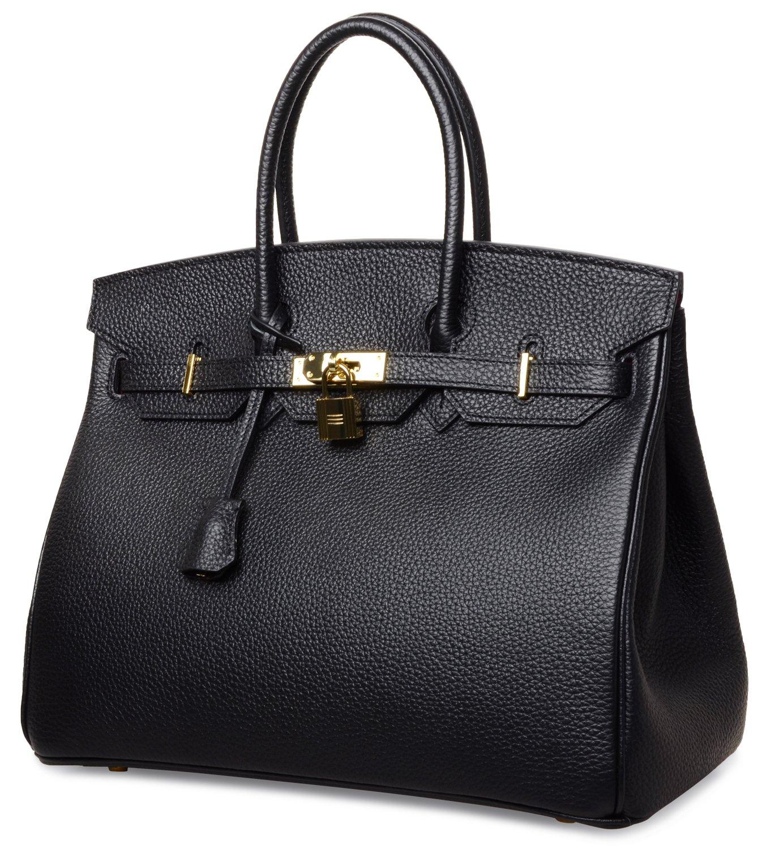 Cherish Kiss Women's Classic Genuine Leather Tote Padlock Handbags H35 (35CM, Black) by Cherish Kiss (Image #2)