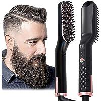 AU Plug Hair Straightening Brush, Beard Straightener Brush, 3-in-1 Ionic Straightening Comb with Anti-Scald Feature Heat…
