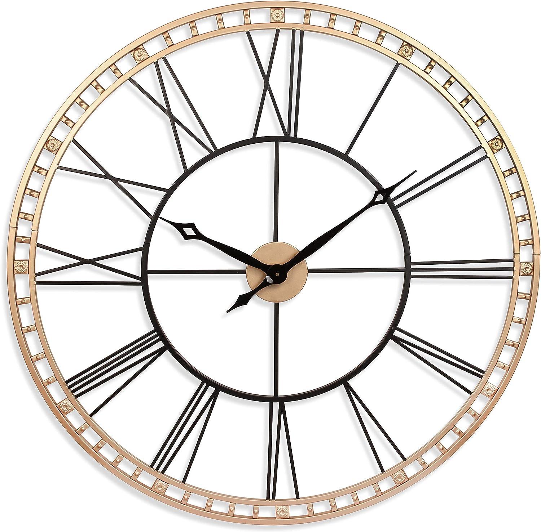 Amazon Com Tower Xxl Wall Clock 40 Inch Open Face Wall Clock Infinity Instruments Large Metal Clock Quartz Movement Tower Huge Clock Blackgold Kitchen Dining