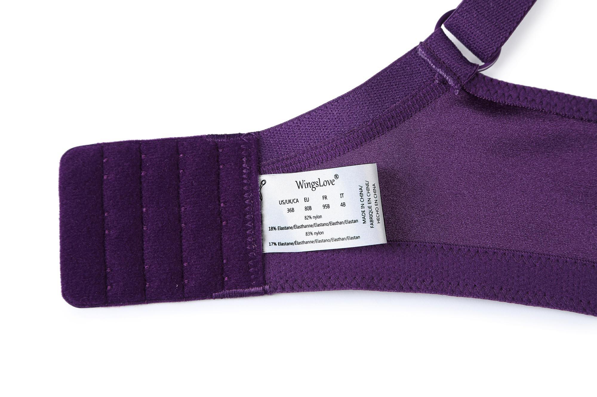 487ed4221c41b Wingslove Women s Full Coverage Non Padded Comfort Strap Minimizer  Wire-Free Bra(Purple
