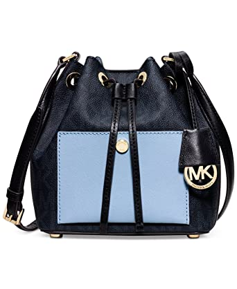 14438c0b6d0c Amazon.com: MICHAEL Michael Kors Greenwich Small Bucket Bag Baltic  Blue/Light Sky: Clothing