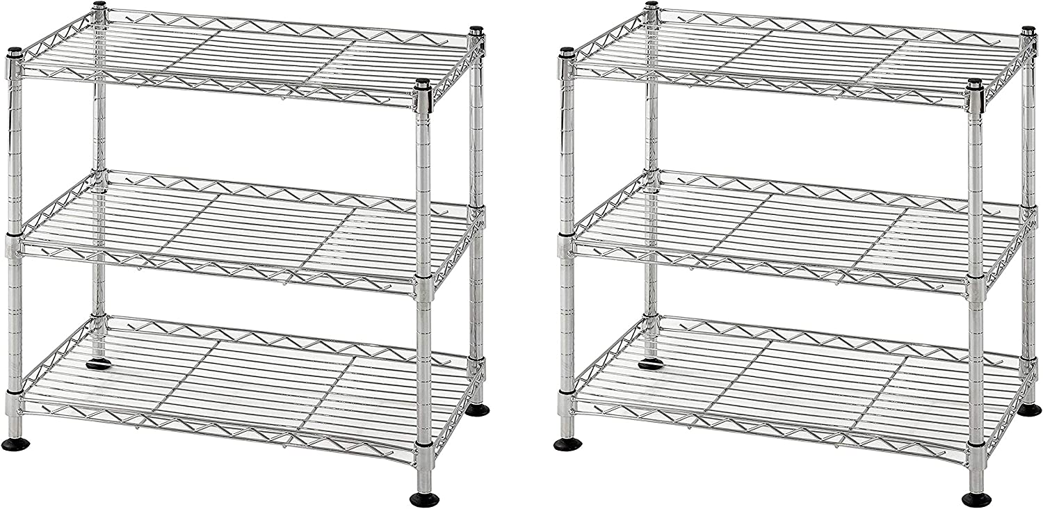 3 Shelves Muscle Rack WS181018-C Steel Adjustable Wire Shelving 18 Width Chrome 18 Height 264 lb Load Capacity Pack of 2