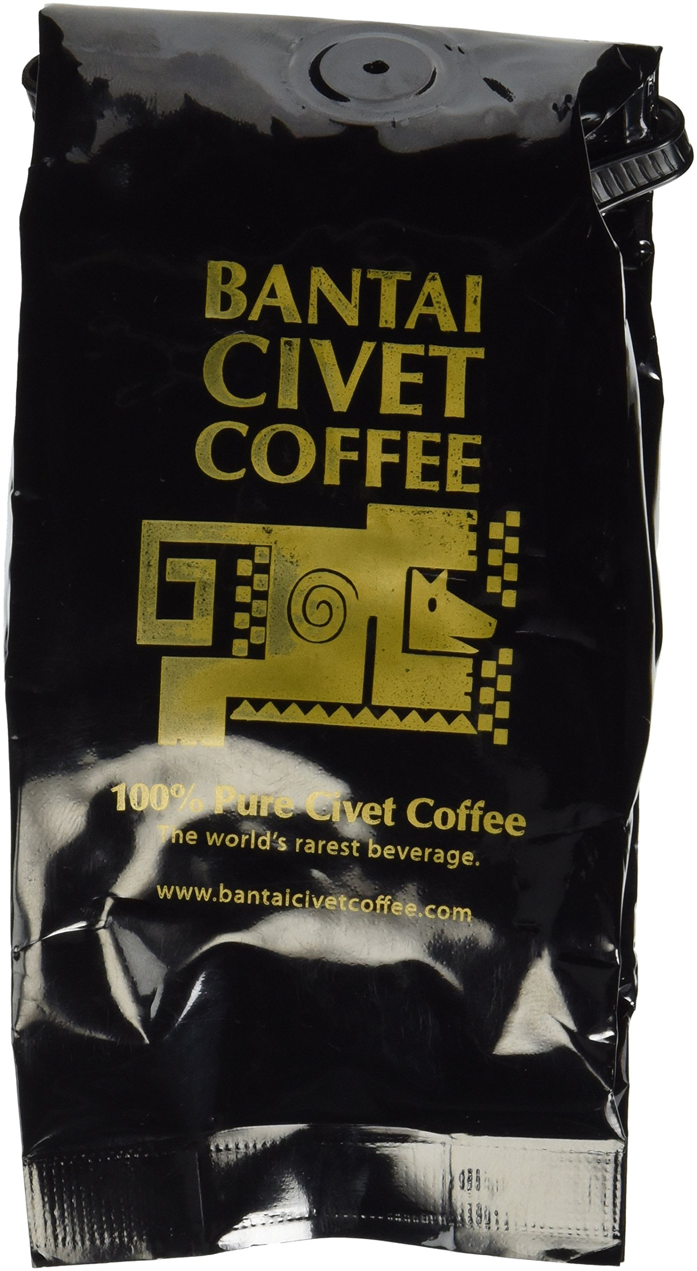 Kopi Luwak Bantai Pure Organic Civet Coffee - Whole Medium Roast Robusta Beans - Roasted in the USA, Imported from the Philippines - 4 Ounces