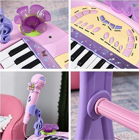 HOMCOM Teclado Electrónico Infantil 32 Teclas Juguete Musical con Micrófono Taburete Luces Variedad Sonidos Rítmos Melodias MP3 Karaoke Modo de ...
