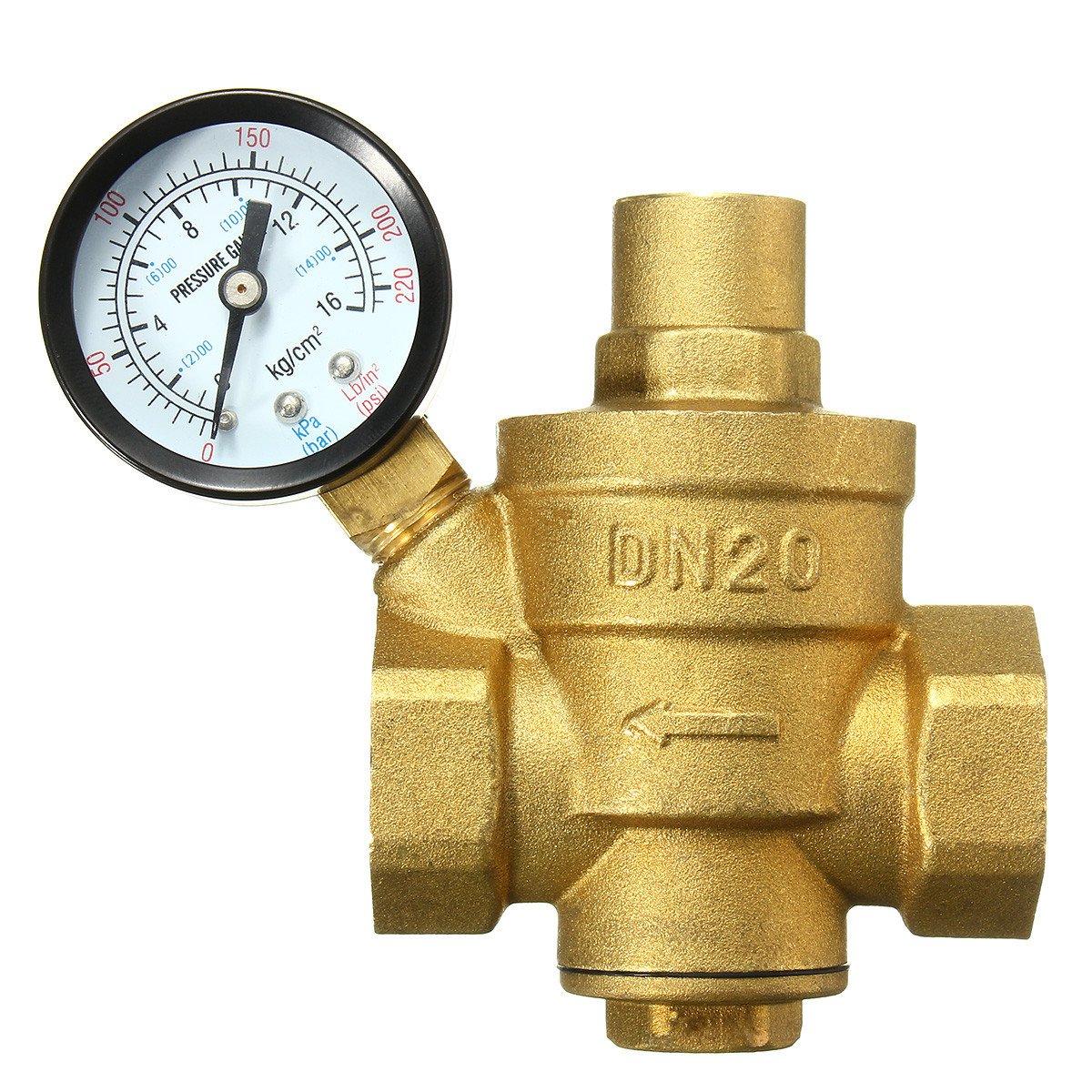 DN20 3/4inch Bspp Brass Water Pressure Reducing Valve With Gauge Flow Adjustable