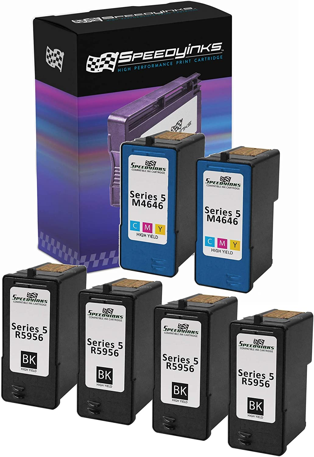 SpeedyInks Remanufactured Ink Cartridge Replacement for Dell M4640 |Series 5 (4 Black, 2 Color, 6-Pack)