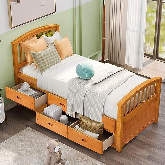 Danxee - Cama nido con 6 cajones y plataforma de madera de nogal, color blanco