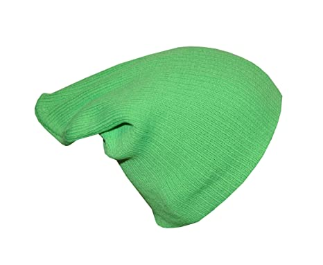 76ed0867d7d Image Unavailable. Image not available for. Colour  Neon Green Large Slouch  Beanie Hat