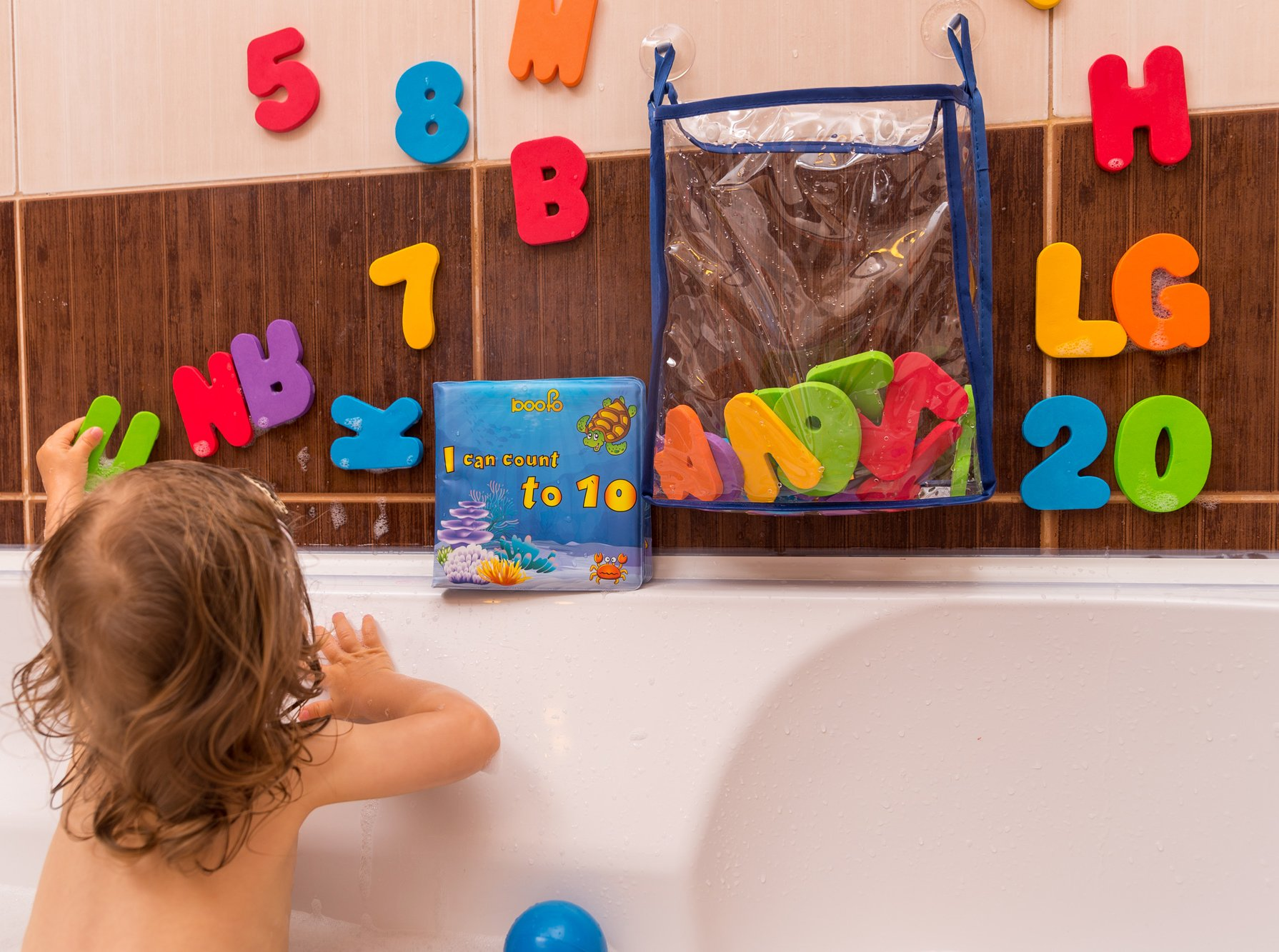 gufolino Baby Bath Toys - 36 Foam Letters and Numbers + Bathtub Toys Organizer and Inflatable Waterproof Book for Toddlers (Multicolor) by gufolino (Image #3)