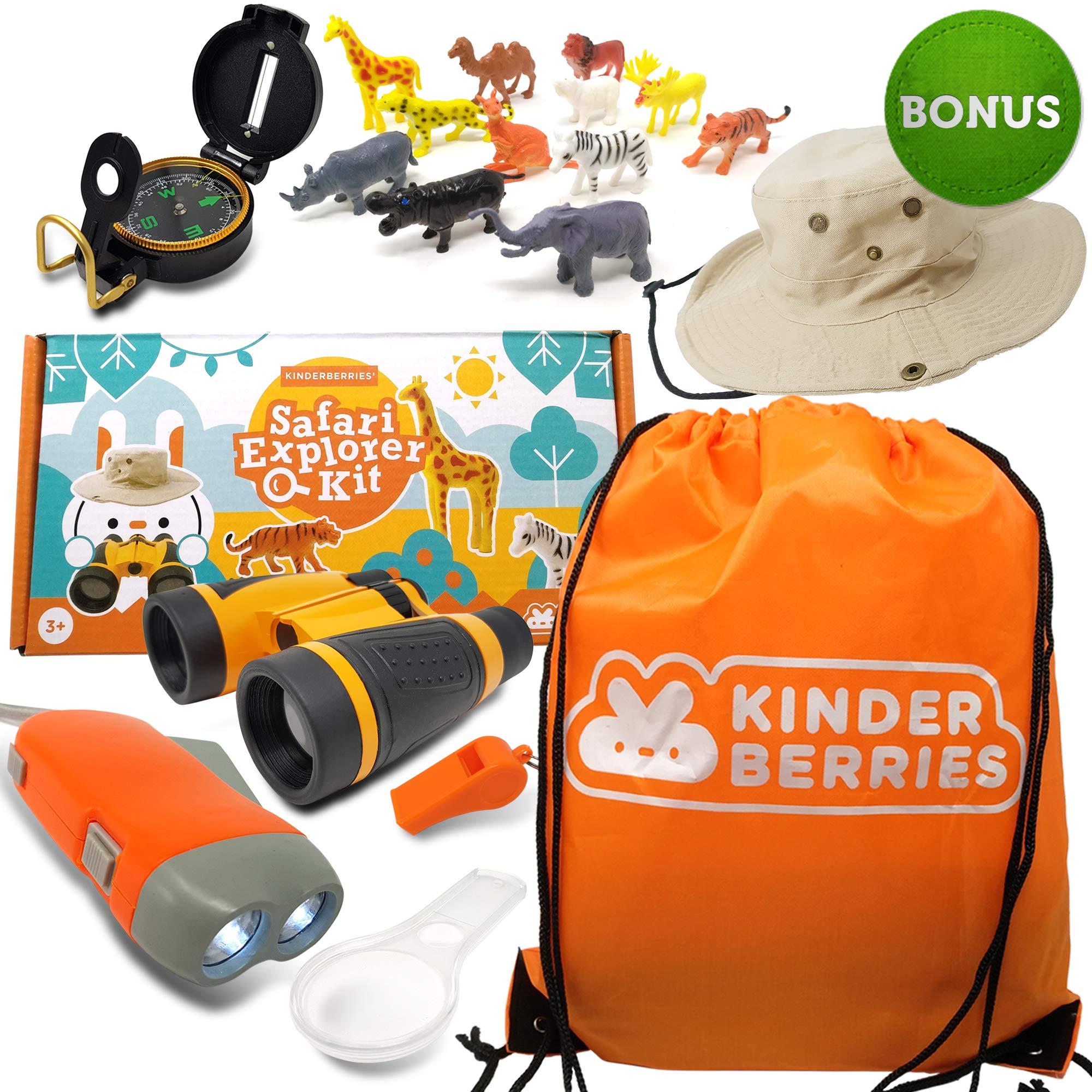 Kids Explorer Kit - Outdoor Binoculars , Animal Figurines , Hand Crank Flashlight , Safari Boonie Hat , Camping Gear , Magnifying Glass , Compass - Educational Toddler Toys for Kids