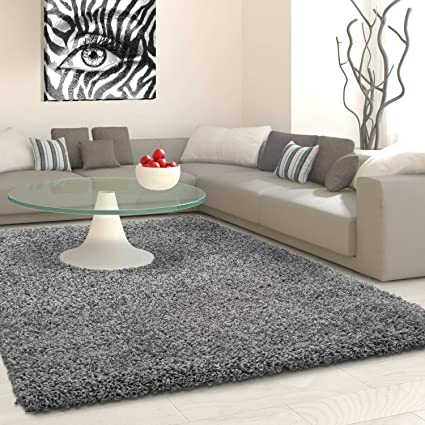 VICEROY BEDDING SHAGGY Rug Rugs Living Room Large Soft Touch 5cm Thick Pile  Modern Bedroom Living Room Area Rugs Non Shed (Grey, 60cm x 110cm (2ft x ...