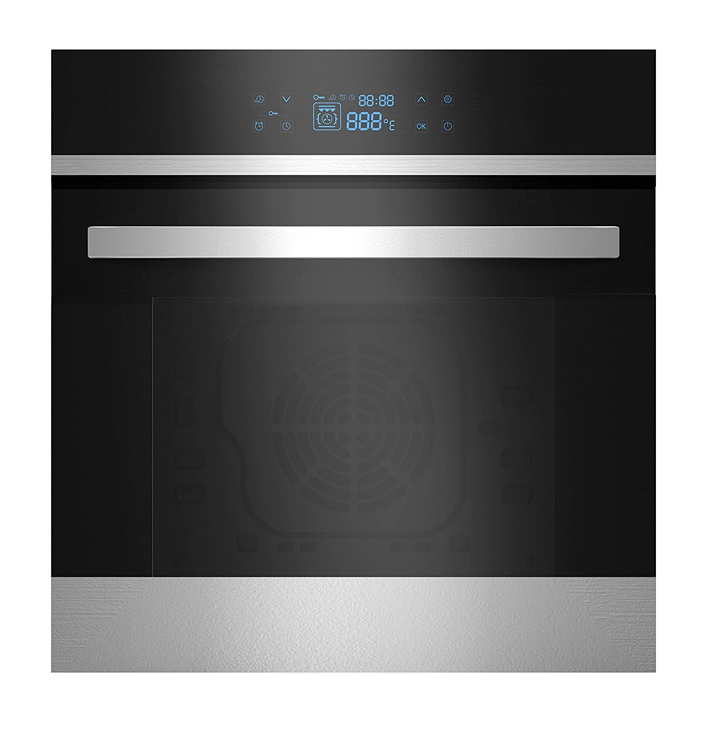 Empava 24' Tempered Glass LED Digital Touch Controls Electric Built-in Single Wall Oven 2800W 110V, Black