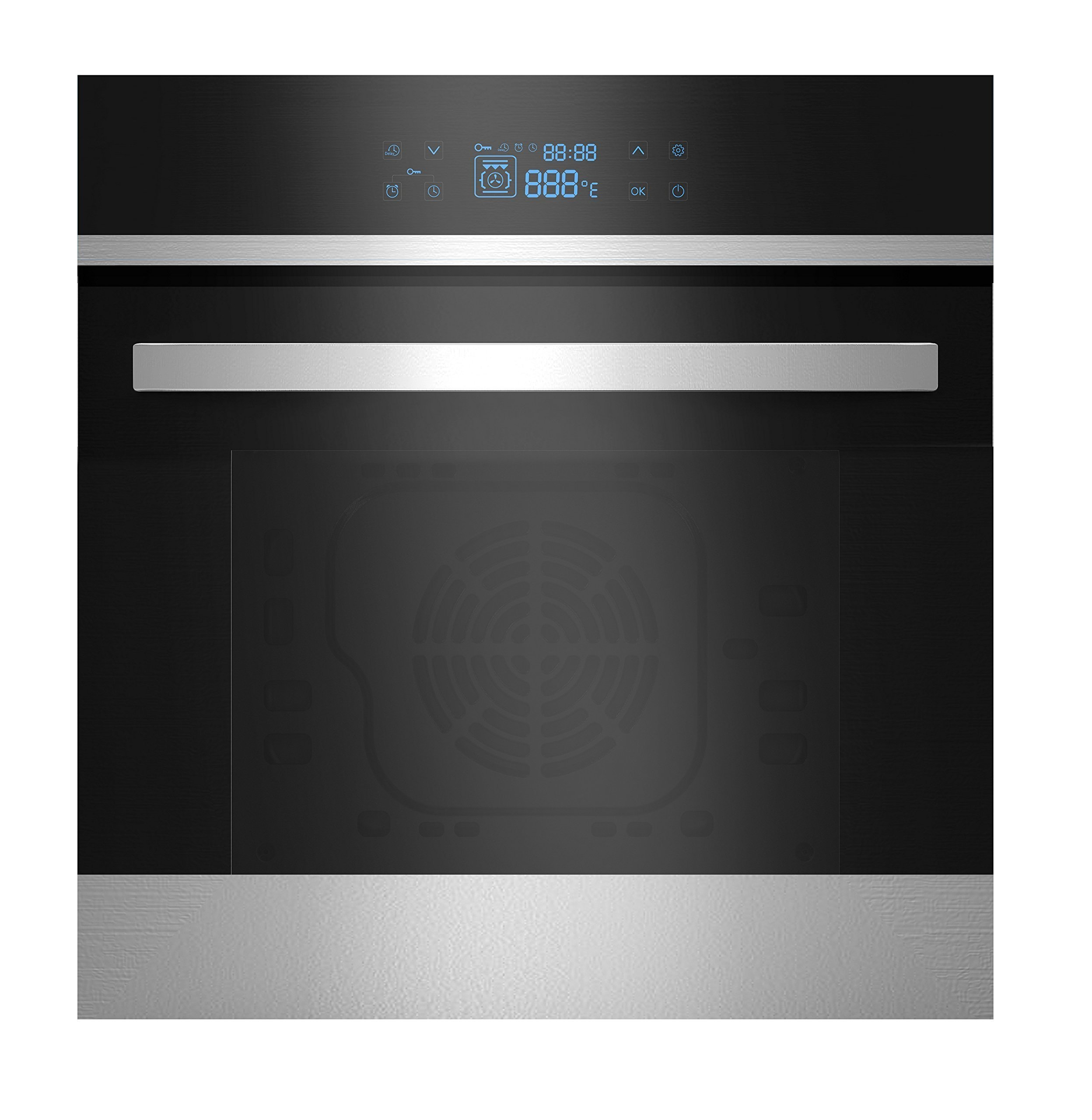Empava 24'' Tempered Glass LED Digital Touch Controls Electric Built-in Single Wall Oven 2800W 110V, Black