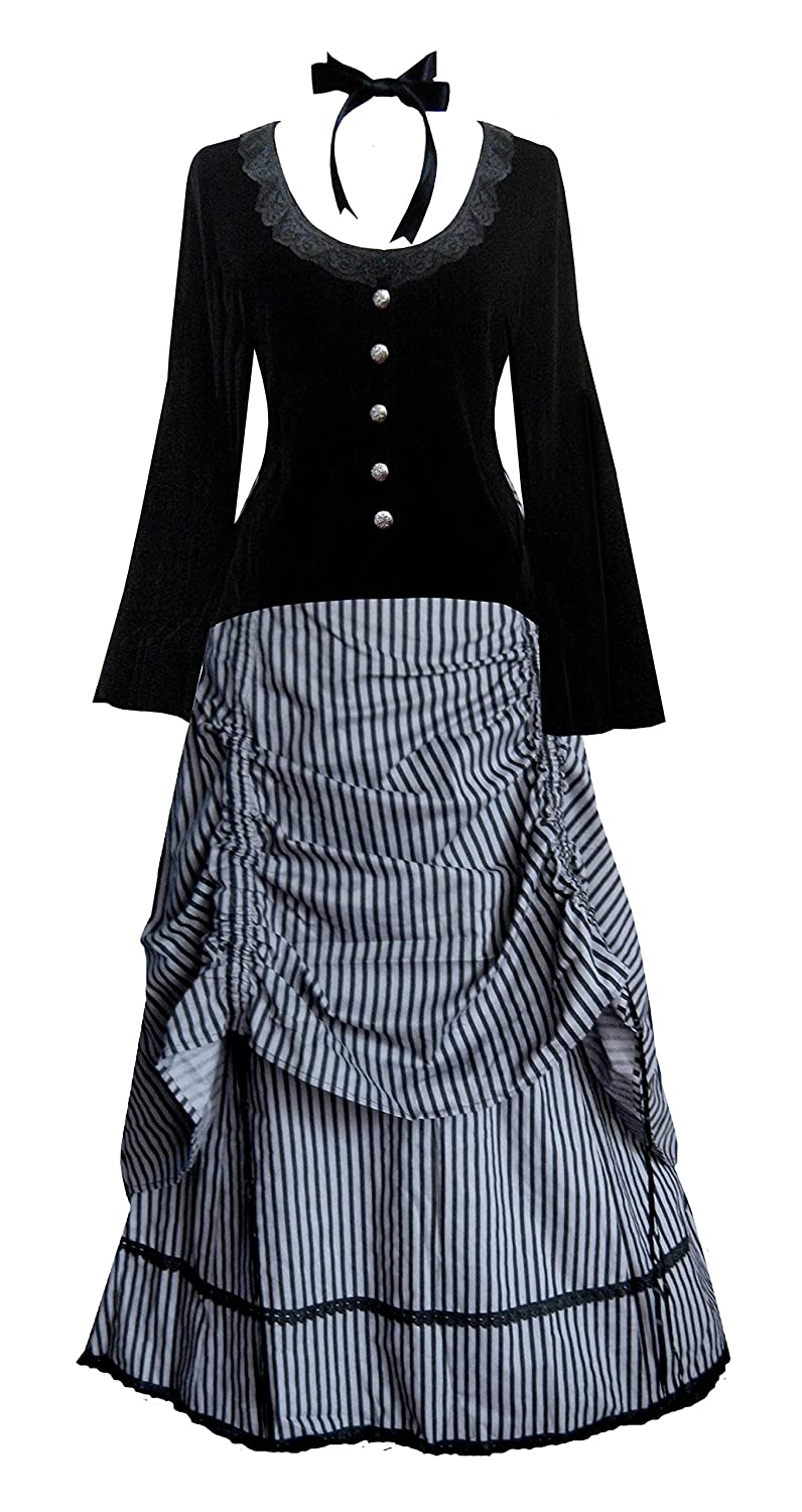 Old Fashioned Dresses | Old Dress Styles Cykxtees Funhouse Victorian Valentine Steampunk Gothic Civil War Striped Womens Top & Skirt $142.00 AT vintagedancer.com