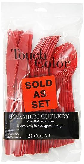 TOUCH OF color Premium cubertería de plástico Surtido (tenedores, cucharas, cuchillos), Classic rojo, 24-count: Amazon.es: Hogar