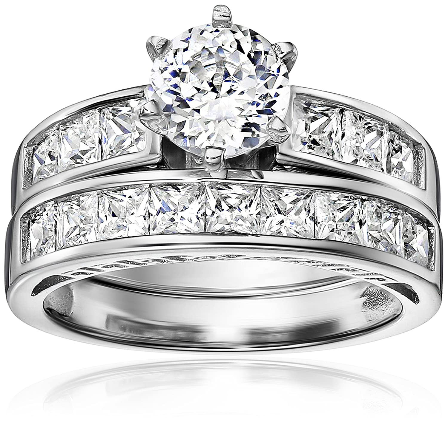 Amazon Platinum Plated 925 Sterling Silver and AAA Cubic