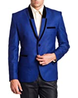 Wintage Men's Rayon Two Buttoned Shawl Lapel Festive Blue Blazer