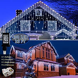 Outdoor Christmas Icicle Lights, 33FT 400 LEDs, 75 Drops, Roof Housetop Decorations Lights with 75 Drops, String Fairy Lights for Christmas Yard Home Garden Wedding Backdrop Decorations (Cool White)
