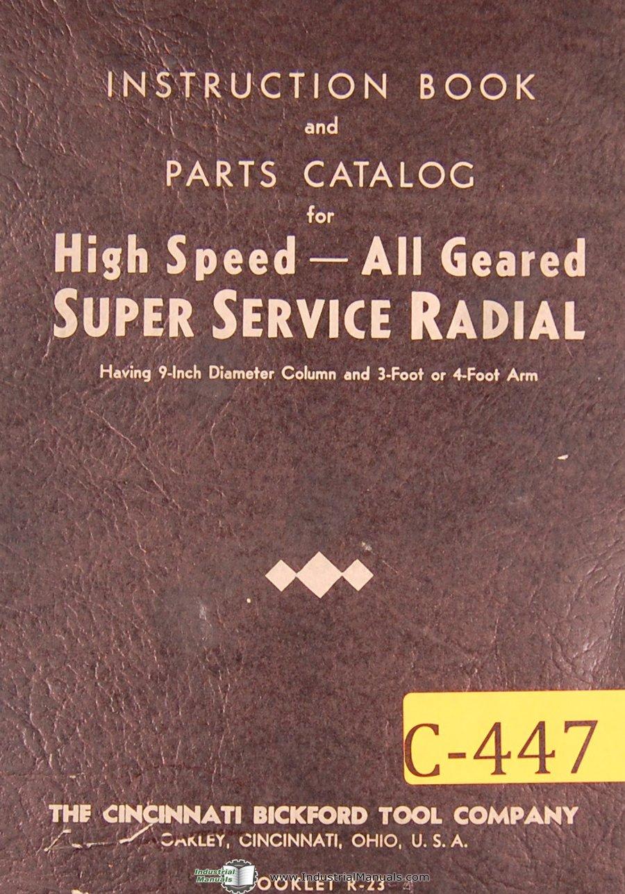 "Cincinnati Bickford 9"" Column, Radial Drill, Instructions and Parts Manual:  Cincinnati: Amazon.com: Books"