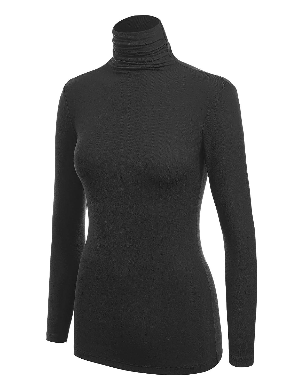 Basic Ribbed Long Sleeve Turtleneck at Amazon Women's Clothing store: