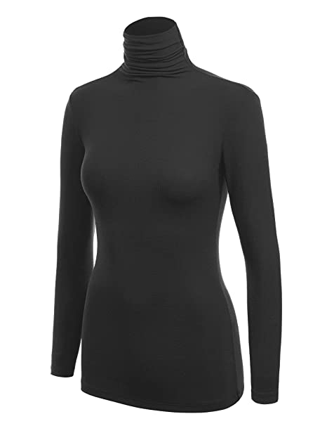 WSK1030 Womens Long Sleeve Ribbed Turtleneck Pullover Sweater S Black