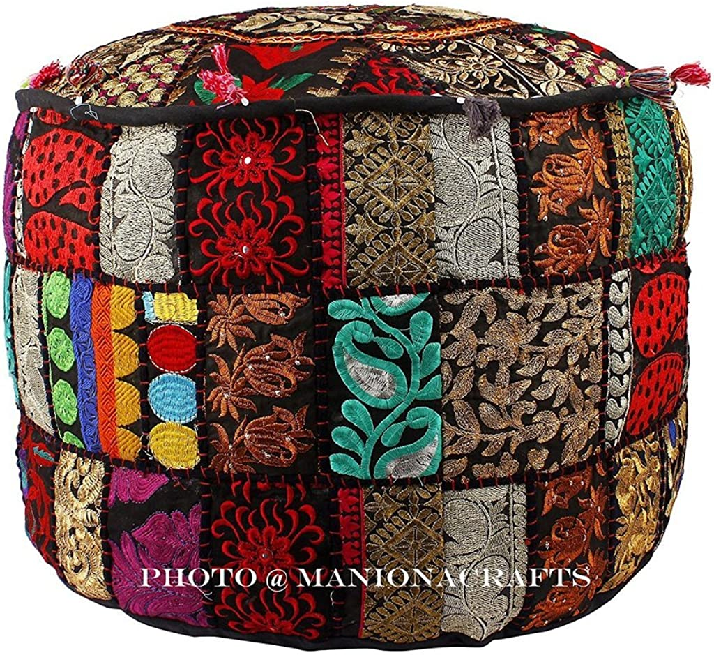 Maniona Bohemian Black Patch Work Ottoman Cover,Traditional Vintage Indian Pouf Floor Foot Stool, Christmas Decorative Chair Cover,100 Cotton Art D cor, Handmade Pouf