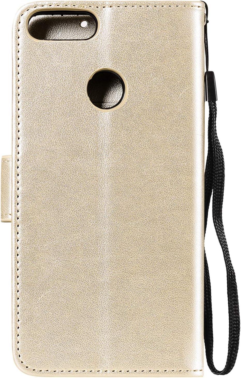 LOHHA100565 Blue Lomogo Embossed Owl Huawei P Smart Case Leather Wallet Case with Kickstand Card Holder Shockproof Flip Case Cover for Huawei P Smart//nova lite 2