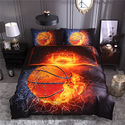 Tenghe 3D Basketball Duvet Cover Sets Fire Water Print for Teen Boys Kids Sports Bedding Sets Bed Cover 1 Duvet Cover + 2 Pillowcases(Basketball,Full): Home & Kitchen