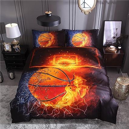 Tenghe 3D Basketball Duvet Cover Sets Fire Water Print for Teen Boys Kids  Sports Bedding Sets Bed Cover 1 Duvet Cover + 1 Pillowcases(Basketball,Twin)